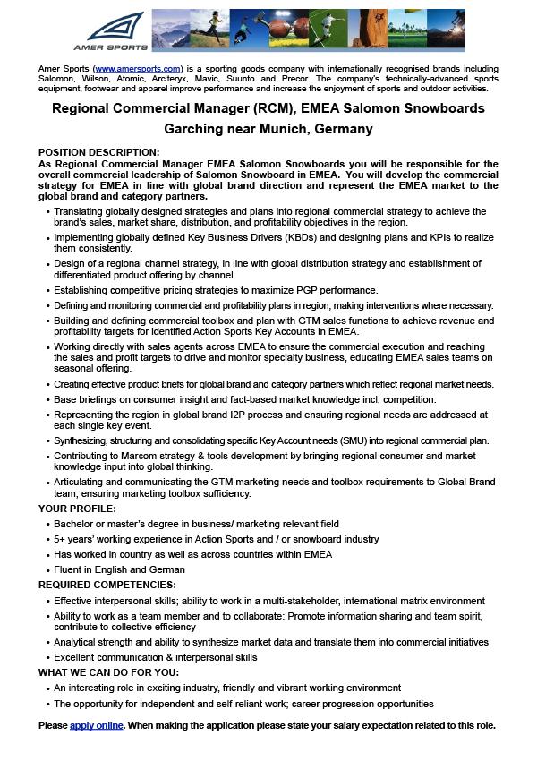 Regional Commercial Manager (RCM) EMEA