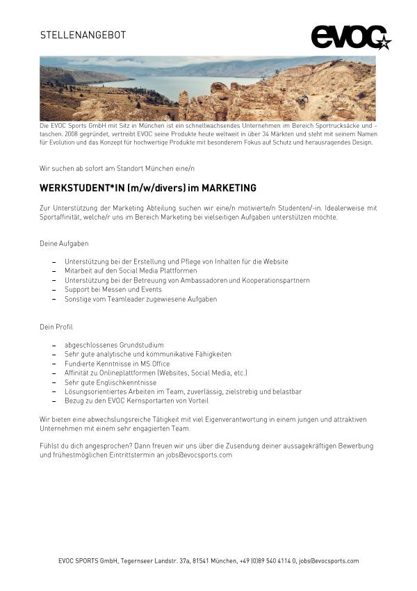 Werkstudent(in) (M/W/D) im Marketing